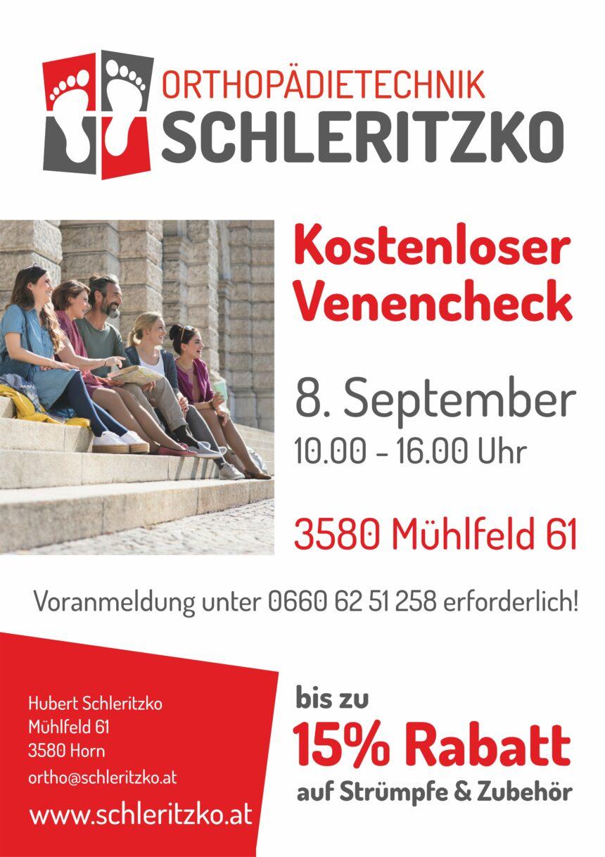 Kostenloser Venecheck am 08.09.2021 10:00-16:00 Uhr                                                           Anmeldung unter 0660/6251258  erforderlich